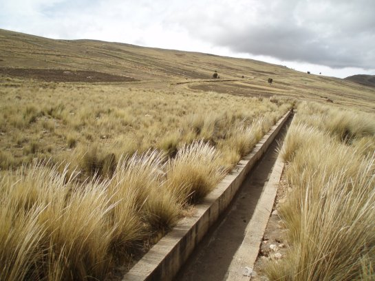 A dry irrigation canal in the hills near Cochabama, Bolivia, as pictured in 2008. Photo by Daniel Aldana Cohen.